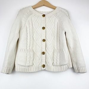 HANNA ANDERSSON Cable Knit White Cardigan 4
